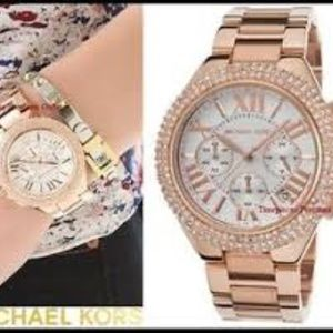 MICHAEL KORS~camille~OVERSIZED ROSE-GOLD STAINLESS STEEL CHRONOGRAPH WATCH